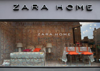 "AMSTERDAM, NETHERLANDS - MAY 4, 2016: Shop window and the logo of the brand ""Zara Home"" at Zara home store, Amsterdam, Netherlands. Zara Home is a company founded in 2003 and belongs to the Spanish Inditex group. It has around 408 stores in 44 countries."