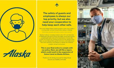 Alaska Airlines amonestará a sus pasajeros con Tarjeta Amarilla si no usan sus mascarillas