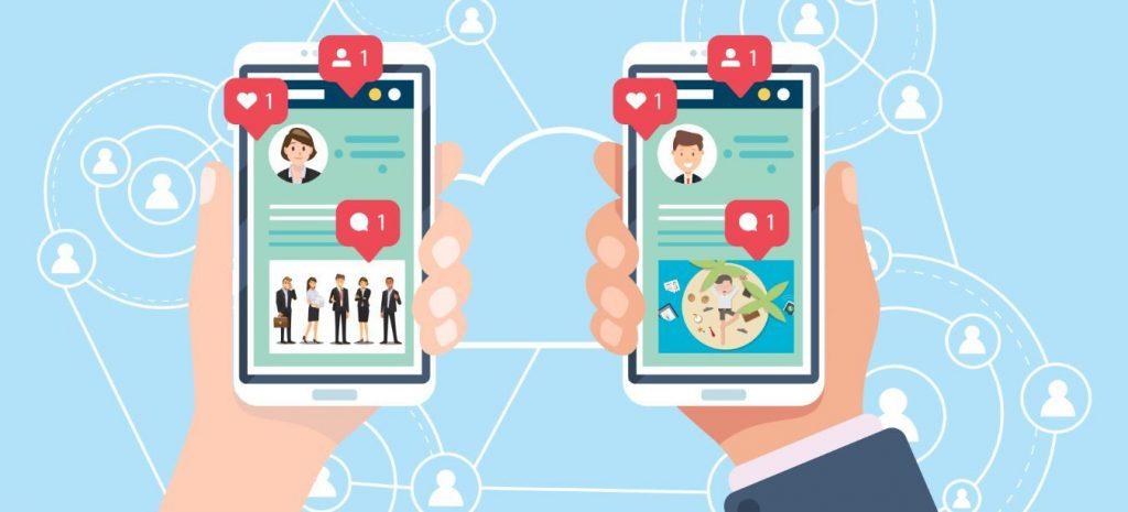 Interacción de interacciones ganadas de estudiar redes sociales