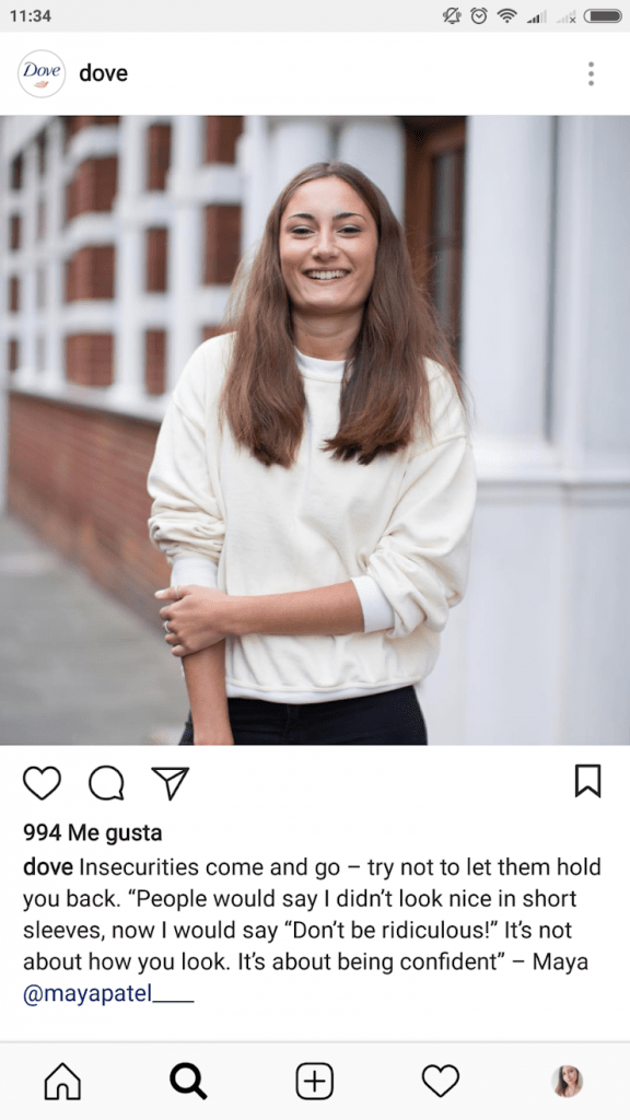 storytelling de la marca dove con una mujer