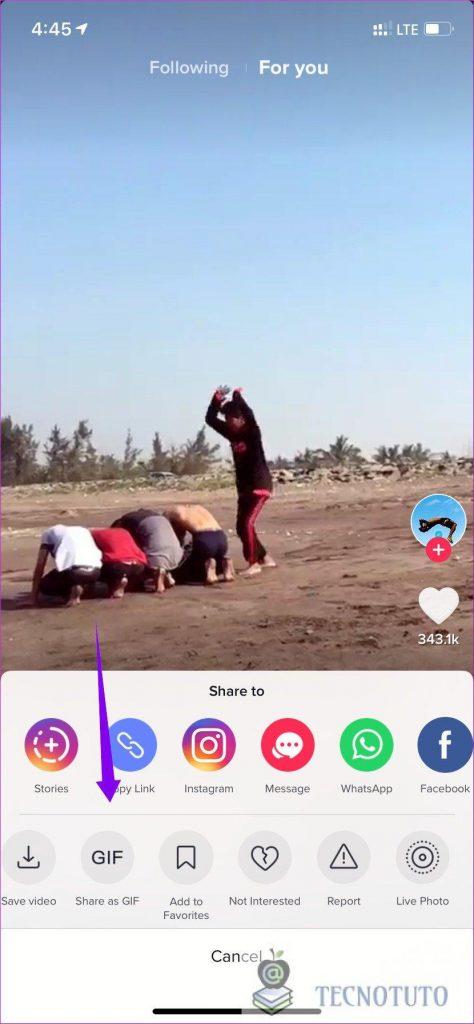 icono gif descargar videos en tiktok
