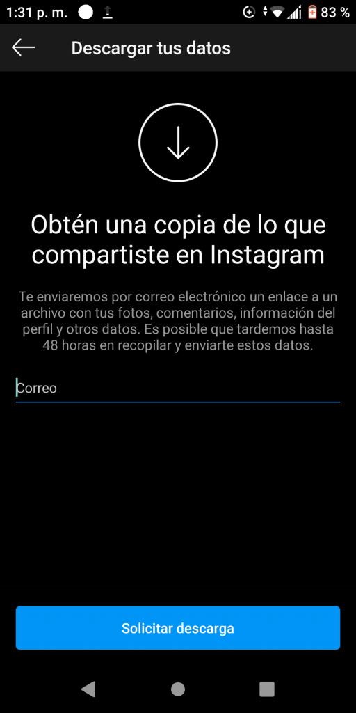 save datos eliminar cuenta instagram