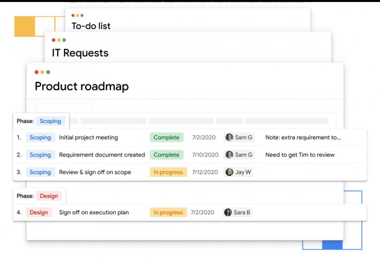 Pantalla de Google Tables versión beta.