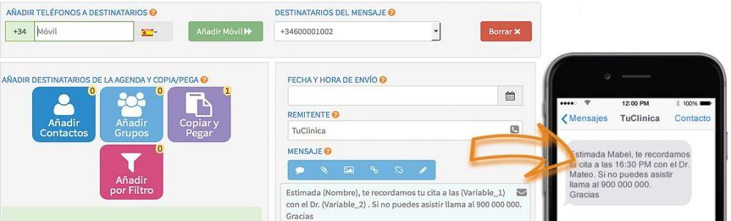 captura pantalla base de datos sms marketing