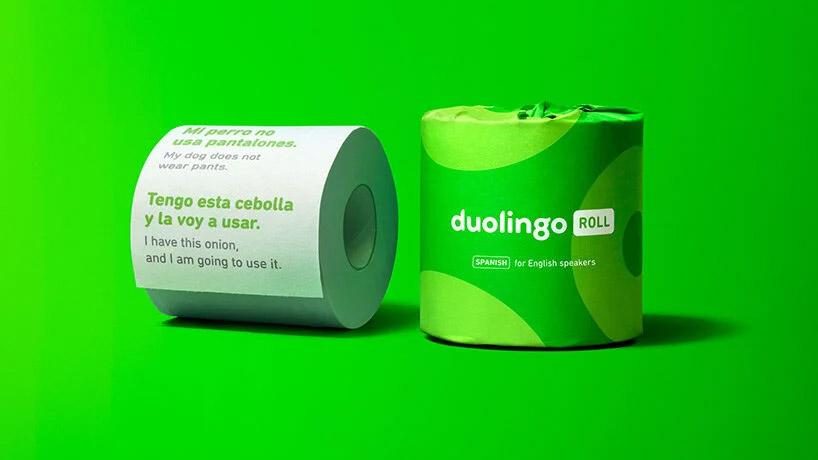 Rollos de papel higiénico con clases de idiomas de Duolingo
