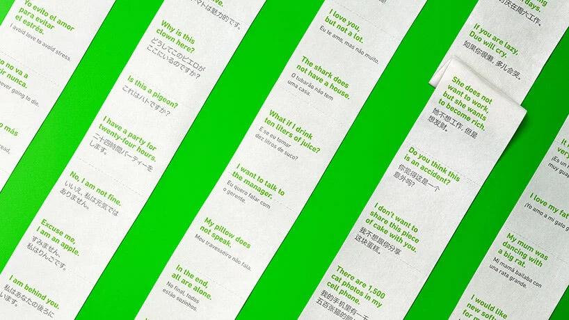 Clases de idiomas impresas en rollos de papel