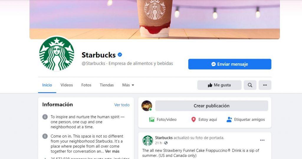 Página de Starbucks en Facebook
